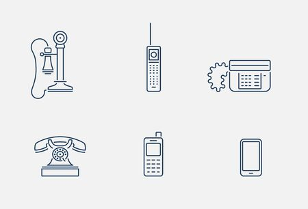 Vector collection of various phone icons in outline design