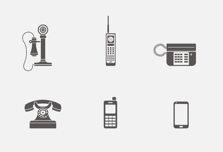 Vector collection of various phone icons in simple grey shape design
