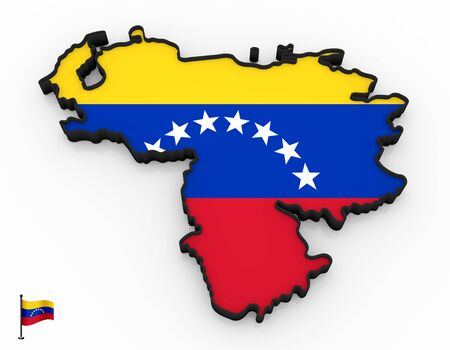 3D model of Venezuela filled with national flag on white background Фото со стока