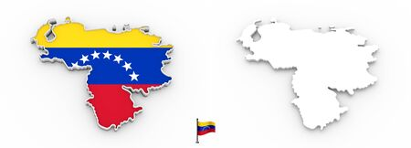 3D High detailed white silhouette of Venezuela map and national flag
