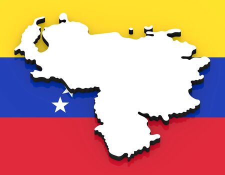 3D White silhouette of the Venezuela state on the national flag Foto de archivo
