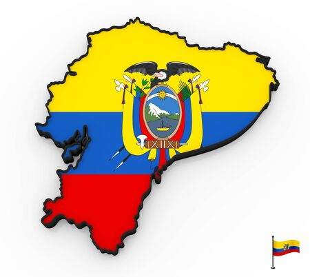 3D model of Ecuador filled with national flag on white background Фото со стока