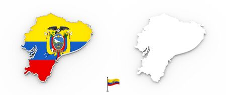 3D High detailed white silhouette of Ecuador map and national flag