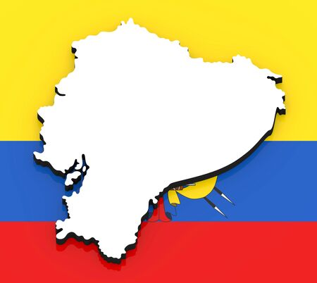 3D White silhouette of the Ecuador state on the national flag
