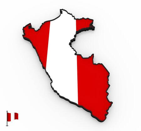 3D model of Peru filled with national flag on white background