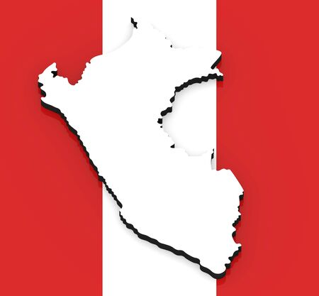 3D White silhouette of the Peru state on the national flag