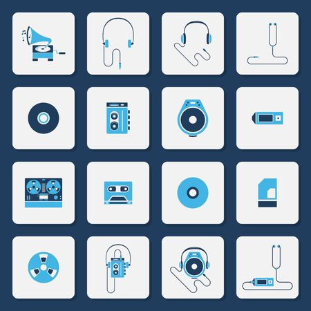 Vector collection of music players icons in simple two color shape design