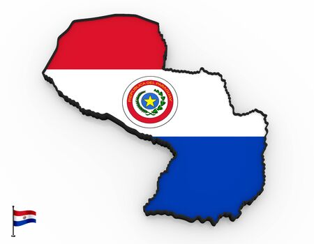 3D model of Paraguay filled with national flag on white background
