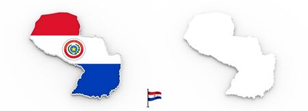 3D High detailed white silhouette of Paraguay map and national flag