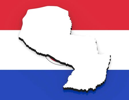 3D White silhouette of the Paraguay state on the national flag Foto de archivo