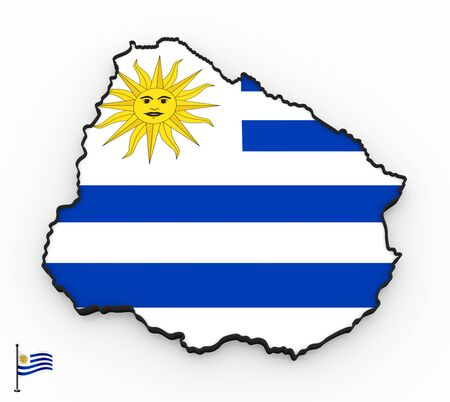 3D model of Uruguay filled with national flag on white background Foto de archivo