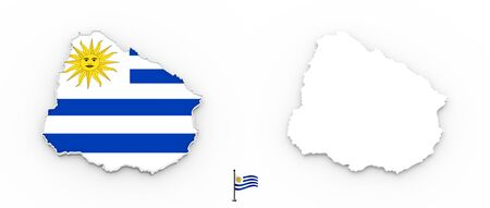 3D High detailed white silhouette of Uruguay map and national flag Foto de archivo