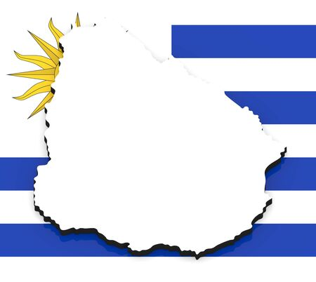 3D White silhouette of the Uruguay state on the national flag