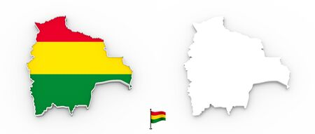 3D High detailed white silhouette of Bolivia map and national flag
