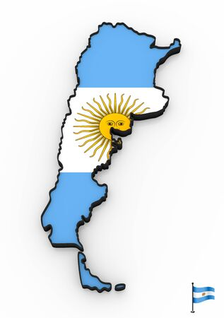 3D model of Argentina filled with national flag on white background Foto de archivo