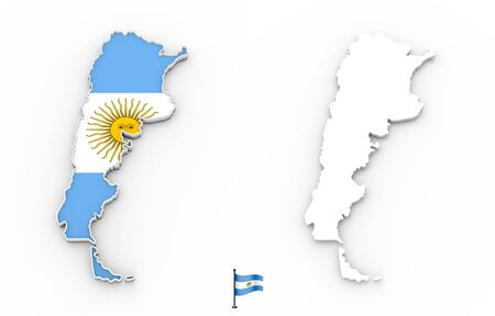 3D High detailed white silhouette of Argentina map and national flag