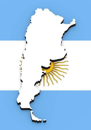 3D White silhouette of the Argentina state on the national flag