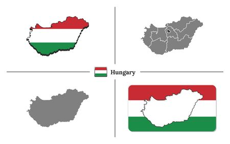 Vector collection with silhouettes of Hungary map with national flag and marked state regions Vectores