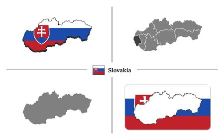 Vector collection with silhouettes of Slovakia map with national flag and marked state regions Ilustrace