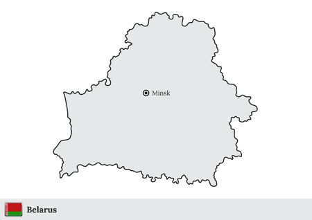 Vector map of Belarus with national flag and marked capital city of Minsk Vectores