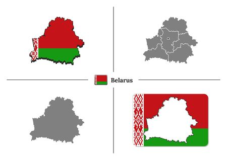 Vector collection with silhouettes of Belarus map with national flag and marked state regions