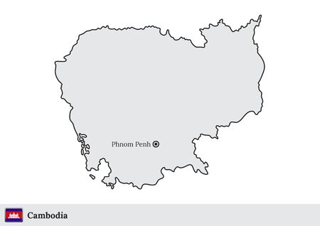 Vector map of Cambodia with national flag and marked capital city of Phnom Penh