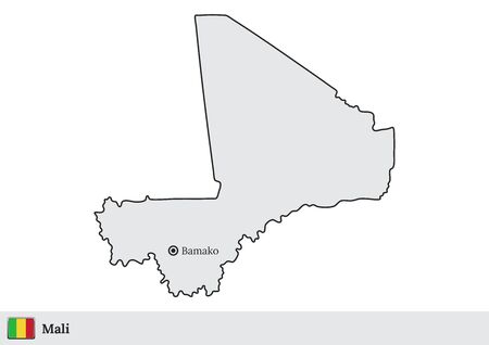 Vector map of Mali with national flag and marked capital city of Bamako Vectores