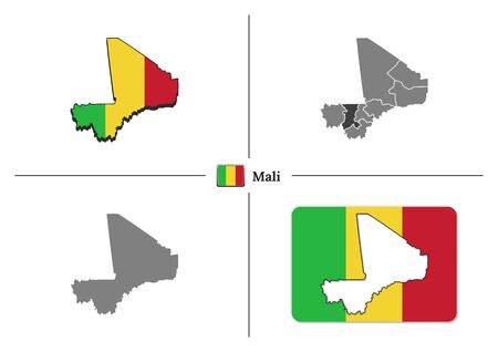 Vector collection with silhouettes of Mali map with national flag and marked state regions Vectores
