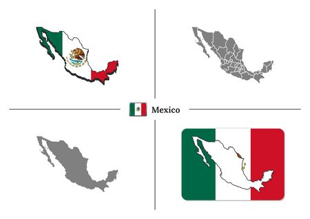 Vector collection with silhouettes of Mexico map with national flag and marked state regions