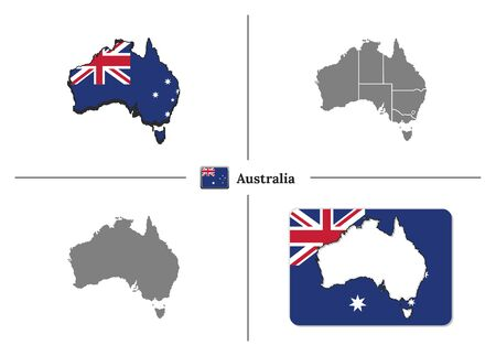 Vector collection with silhouettes of Australia map with national flag and marked state regions