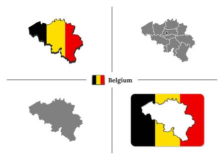 Vector collection with silhouettes of Belgium map with national flag and marked state regions