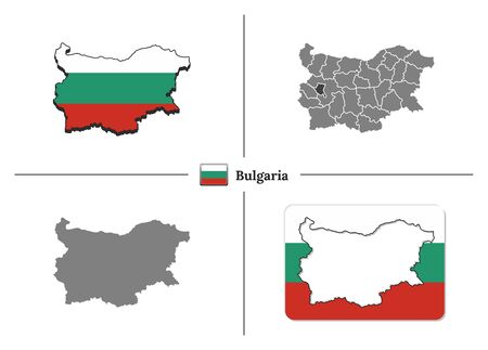 Vector collection with silhouettes of Bulgaria map with national flag and marked state regions Иллюстрация