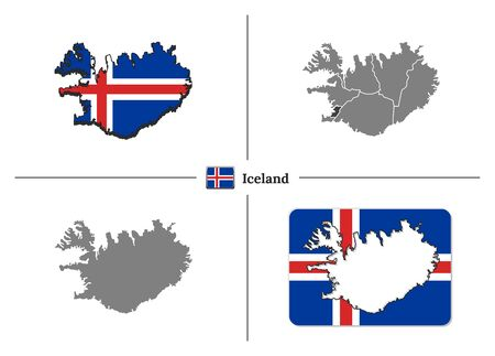 Vector collection with silhouettes of Iceland map with national flag and marked state regions