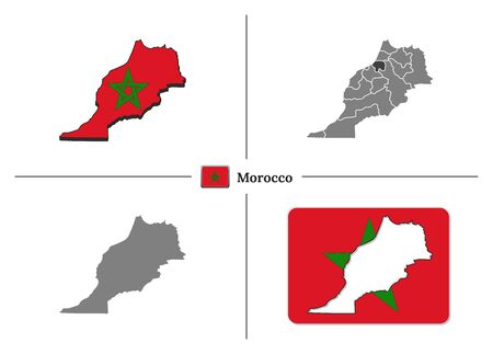 Vector collection with silhouettes of Morocco map with national flag and marked state regions