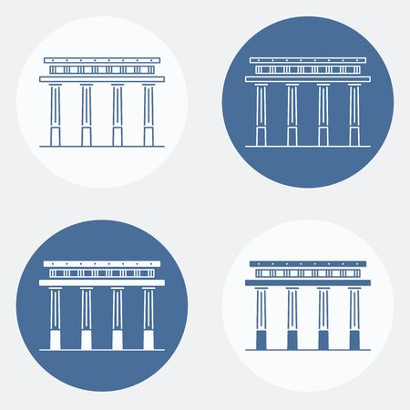 Vector set of antique greek pillar icons in white and blue color
