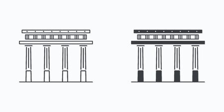 Vector set of antique greek pillar icons in line and outline style