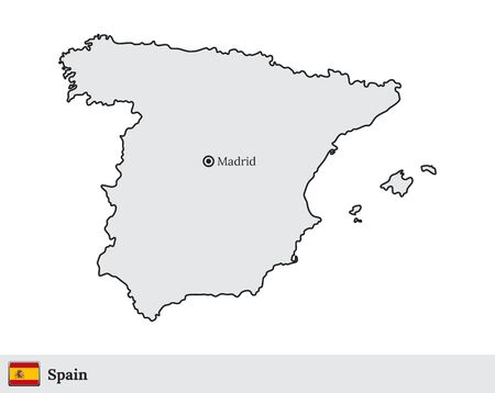 Vector map of Spain with national flag and marked capital city of Madrid