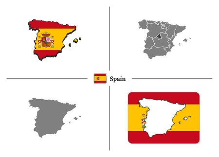 Vector collection with silhouettes of Spain map with national flag and marked state regions