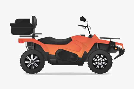 Vector graphic icon of a sport quad bike in orange and black color