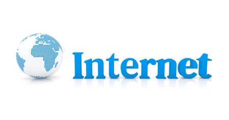 Blue typography of the word Internet and symbol of planet earth in simple white render Foto de archivo