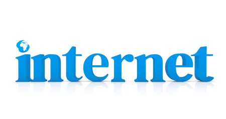 Blue typography of the word Internet and symbol of planet earth in simple  white render
