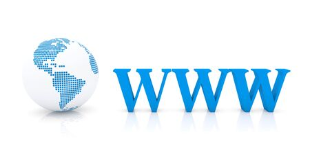 Blue sign of world wide web typography and symbol of planet earth in simple white render Foto de archivo