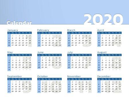 Vector calendar for year 2020 in modern blue desk design to print Vectores