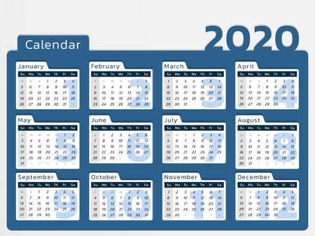 Vector calendar for year 2020 in modern blue desk design to print Иллюстрация