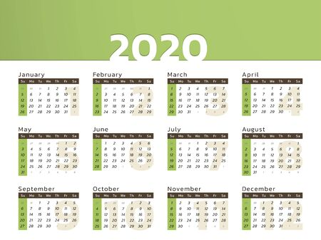 Vector calendar for year 2020 in eco green design to print
