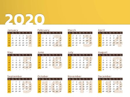 Vector calendar for year 2020 in modern yellow desk design to print Иллюстрация