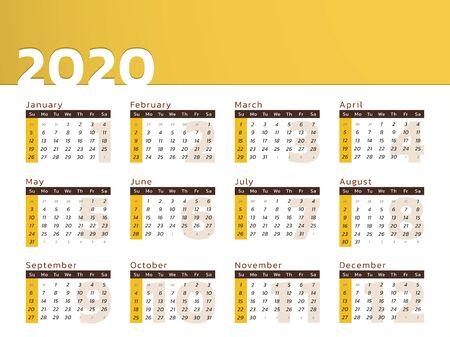 Vector calendar for year 2020 in modern yellow desk design to print Vectores