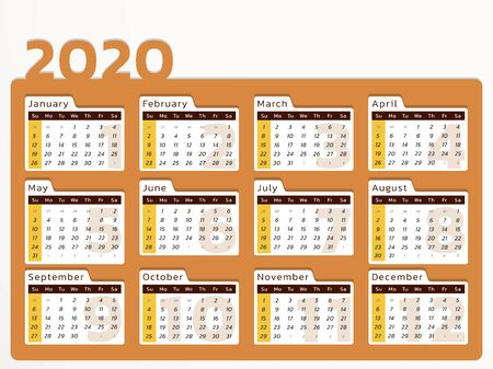 Vector calendar for year 2020 in modern orange desk design to print