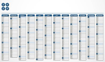 Vector calendar for year 2020 in modern blue design for companies Vectores
