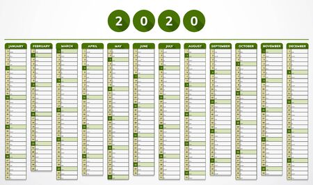 Vector calendar for year 2020 in modern eco green design for companies Иллюстрация